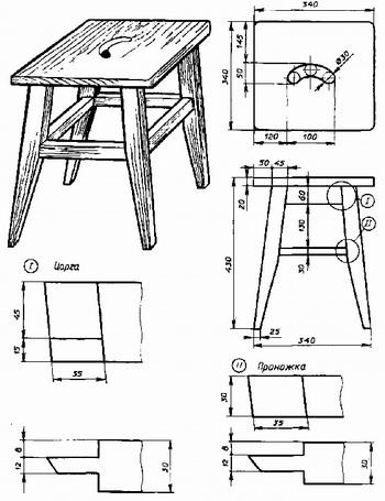 Легкие столики и табуреты можно изготовить другим способом.  Сначала делают сиденье или крышку из досок или щитов...